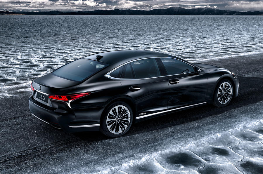 Lexus LS 500h flagship hybrid rear three quarter picture