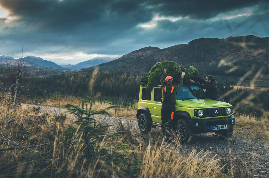 Christmas tree road trip in a Suzuki Jimny