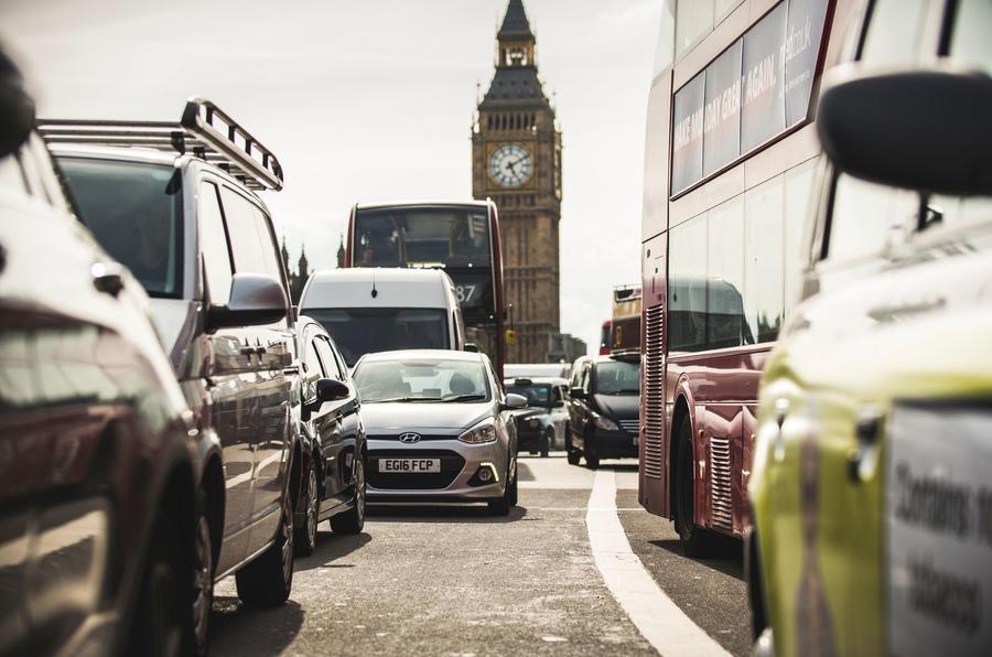 Traffic on Westminster Bridge, London