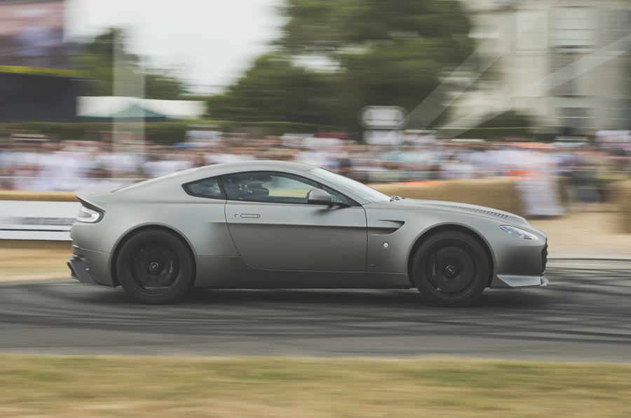 limited-run aston martin v12 vantage v600 tackles goodwood hill