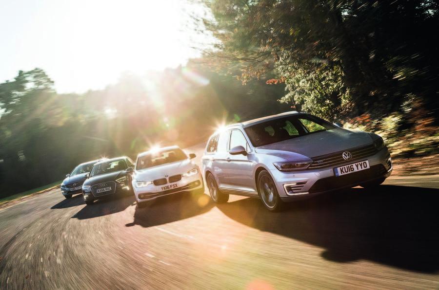 Volkswagen Passat GTE Estate vs Audi A3 Sportback e-tron vs Volvo V60 D5 Twin Engine SE Nav vs BMW 330e Sport
