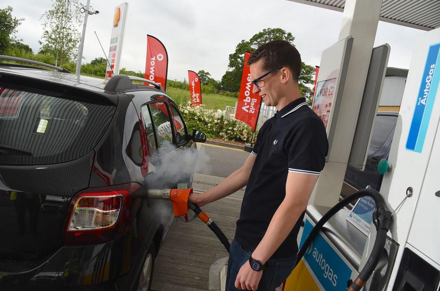Mark Tisshaw refuelling Dacia Sandero Stepway LPG