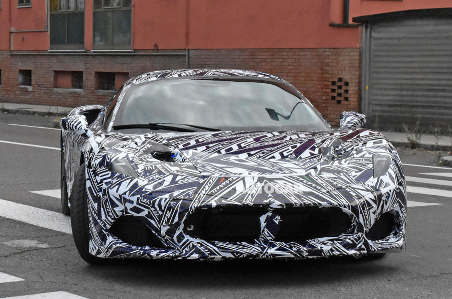 Maserati MC20 spy photos - nose