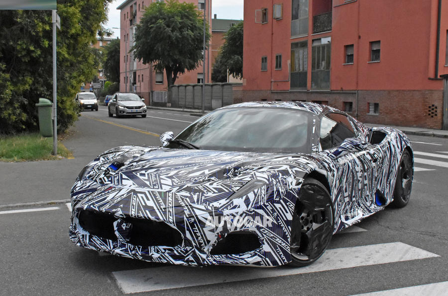 Maserati MC20 spy photos - front