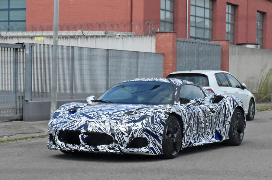 Maserati MC20 spy photos - front left