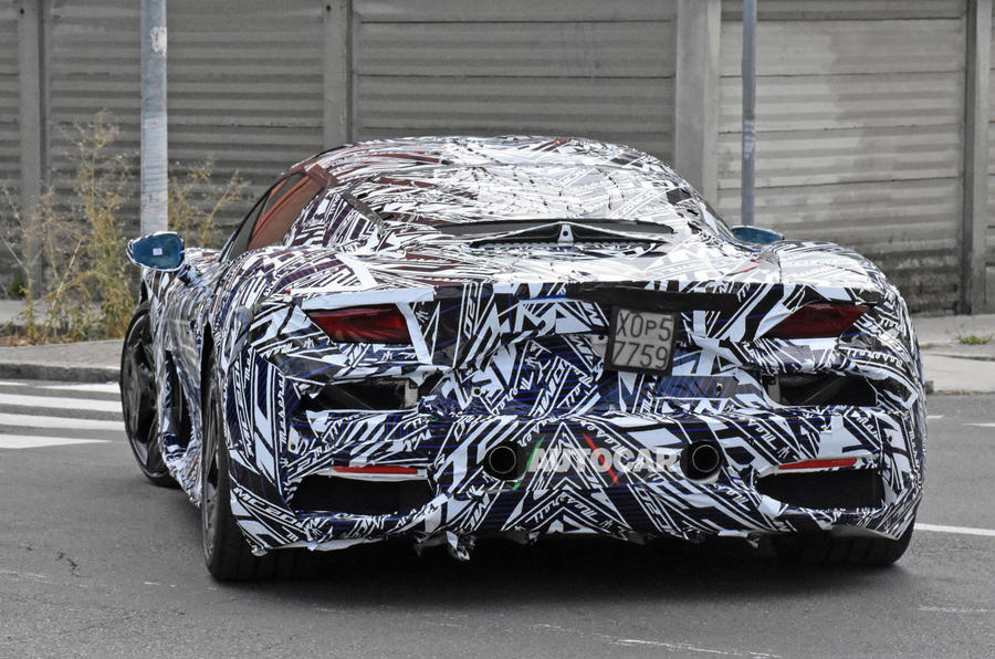 Maserati MC20 spy photos - rear left
