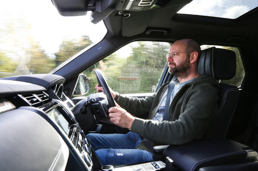 Matt Prior driving the Land Rover Discovery