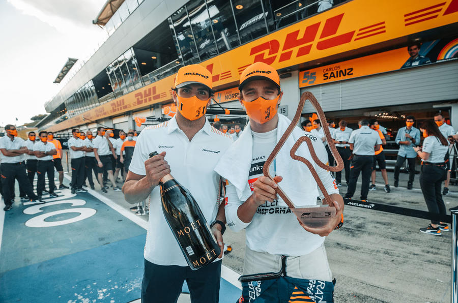 McLaren F1 drivers Lando Norris and Carlos Sainz celebrate their success