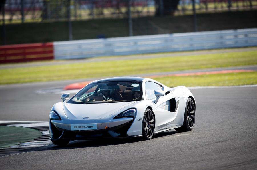 McLaren 570GT cornering at Silverstone