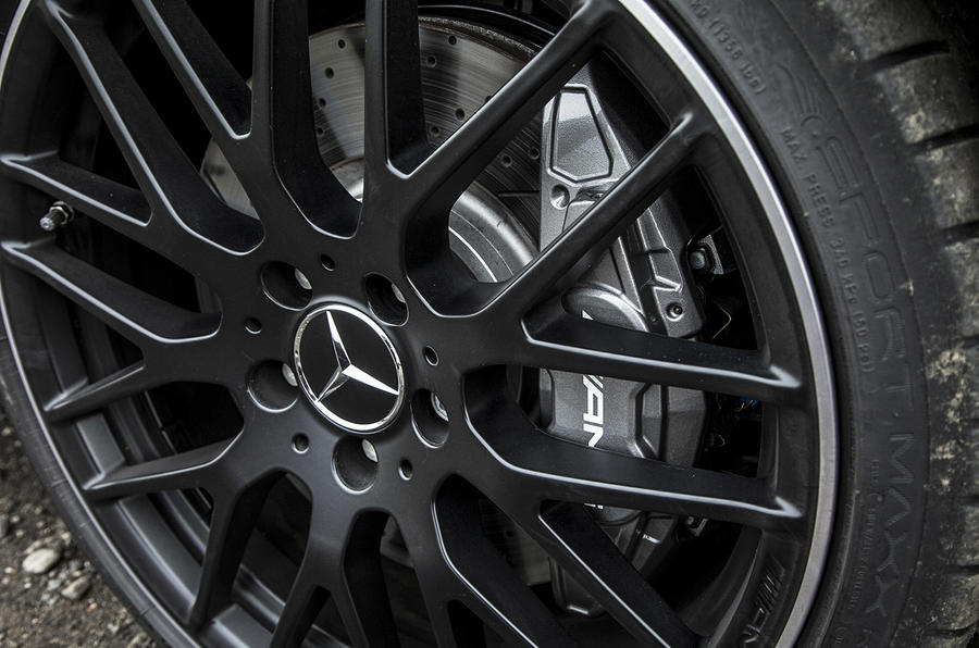 Silver Mercedes-AMG A 45 brake calipers