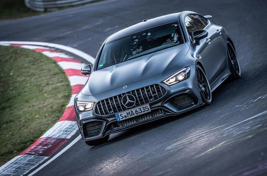 Mercedes-AMG GT 4-door coupe Nurburgring corner