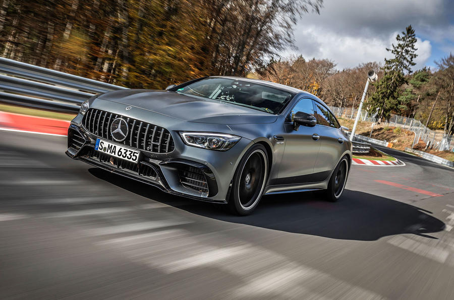 Mercedes-AMG GT 4-door coupe Nurburgring front side