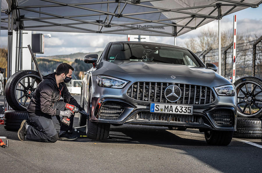 Mercedes-AMG GT 4-door coupe Nurburgring front pits