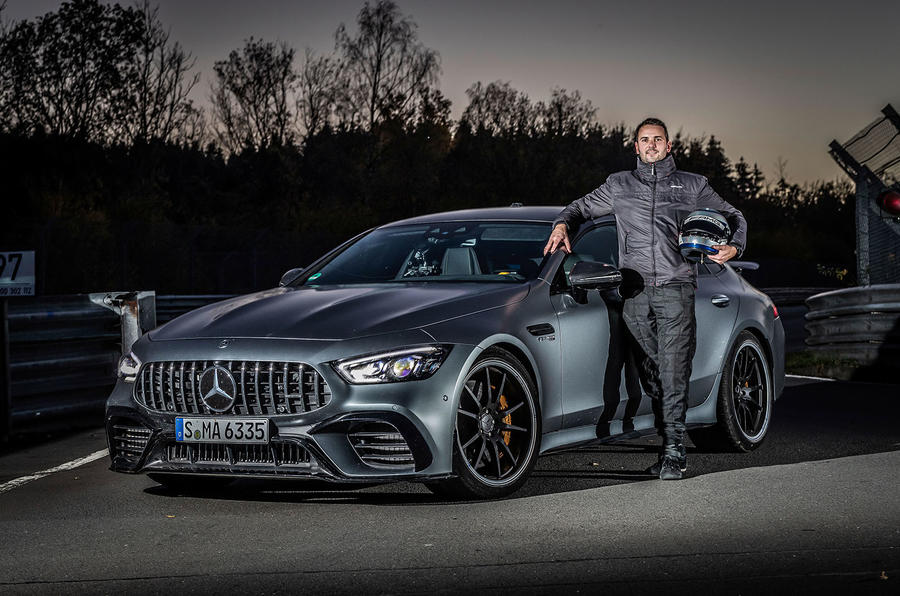 Mercedes-AMG GT 4-door coupe Nurburgring front driver