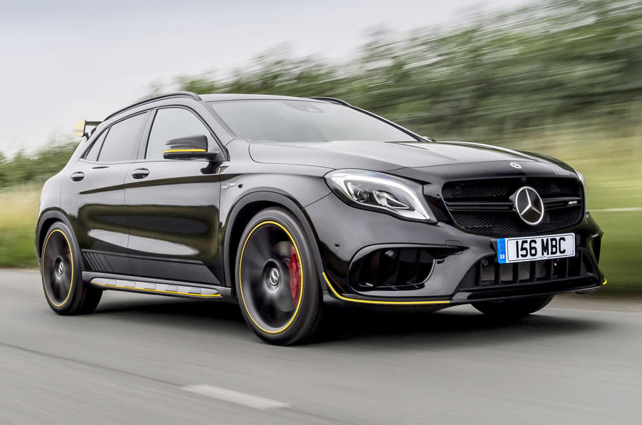 mercedes amg gla 45 4matic yellow night edition 2017 review autocar. Black Bedroom Furniture Sets. Home Design Ideas