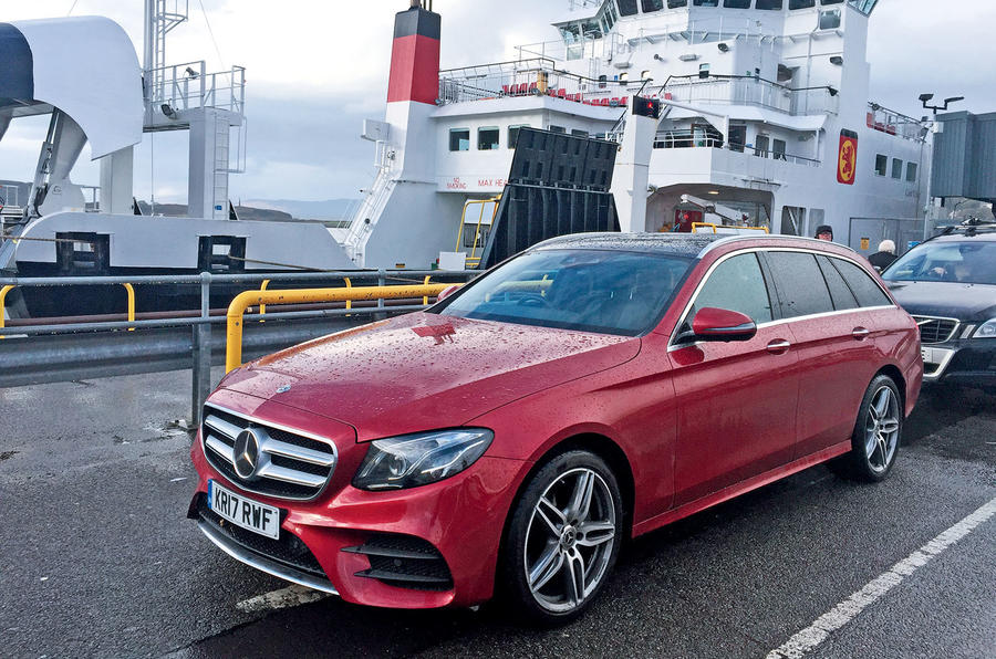 Mercedes-Benz E-Class Estate waiting to board the ferry