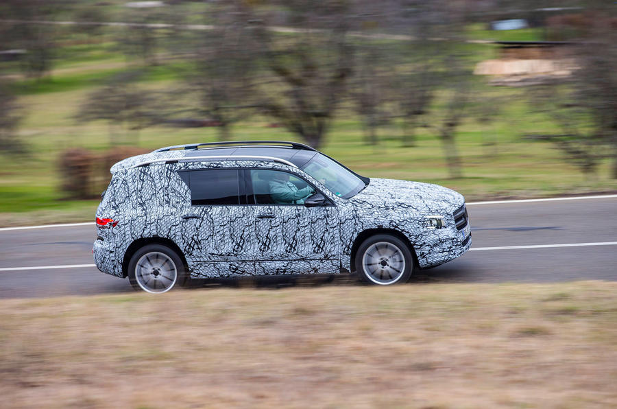 Mercedes-Benz GLB prototype ride 2019 - on the road side