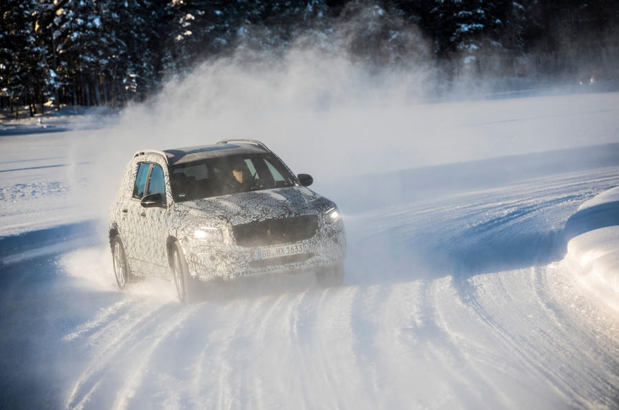 Mercedes-Benz GLB prototype ride 2019 - snow cloud cornering