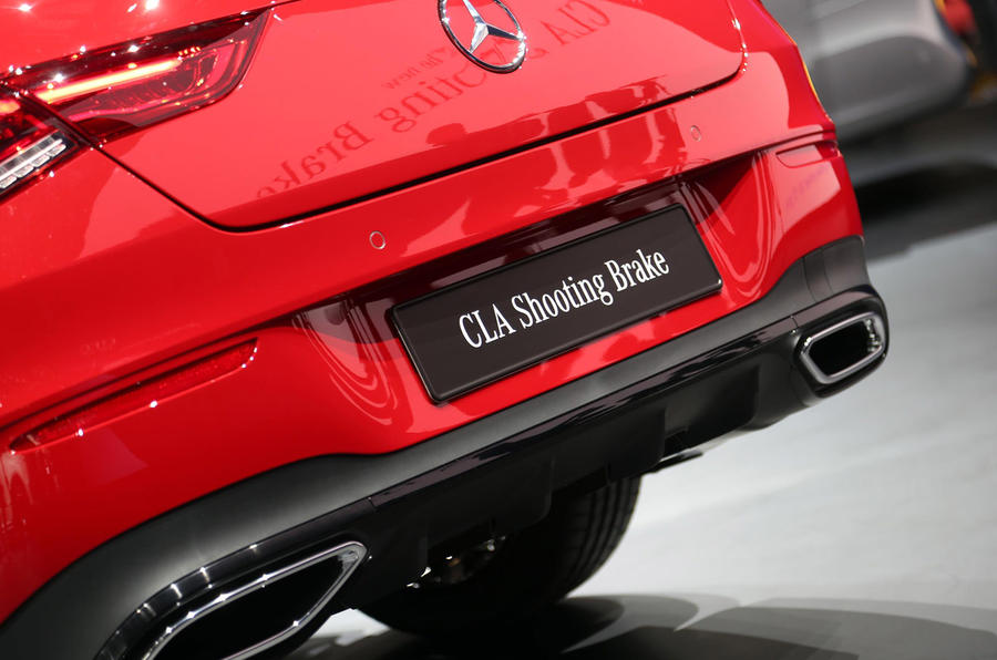 Mercedes CLA Shooting Brake Geneva press stand - exhausts