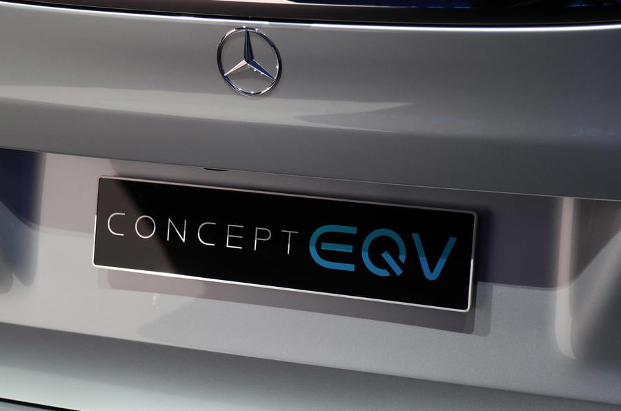 Mercedes Concept EQV Geneva stand - badge