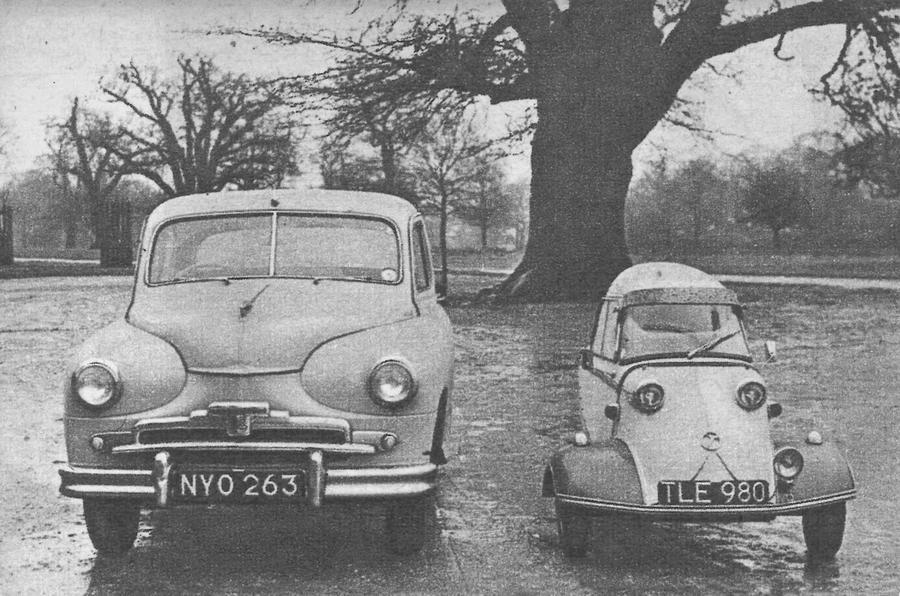 Messerschmitt KR200 next to a Standard Vanguard
