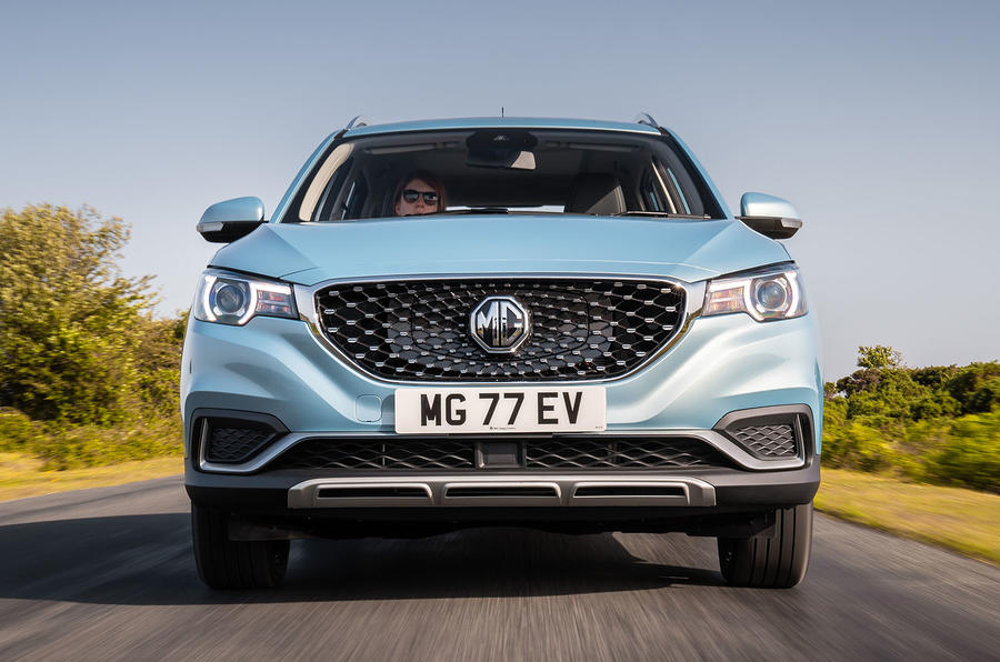 MG ZS EV on the road nose