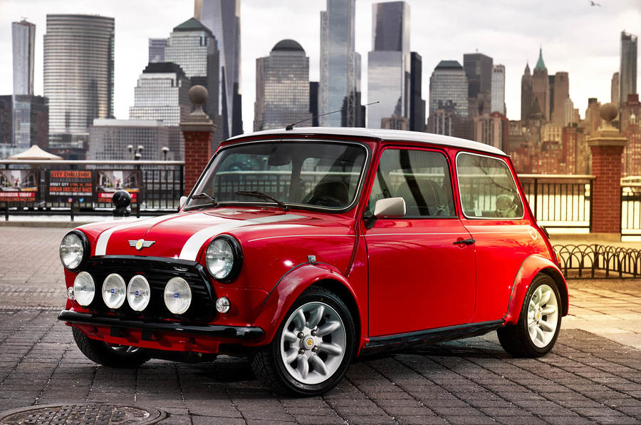 Classic Mini Electric revealed in New York to emphasise brand's EV plans