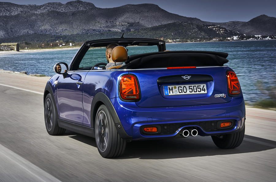 Mini Cooper S Convertible 2018 review on the road rear