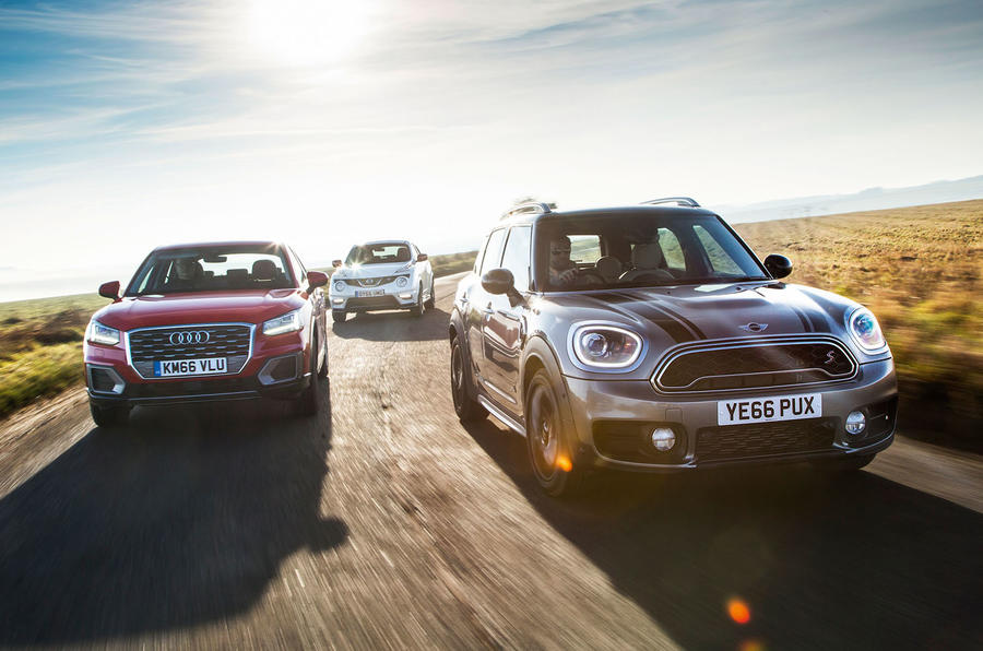 Mini Countryman Cooper S v Nissan Juke Nismo RS v Audi Q2 Sport - group test