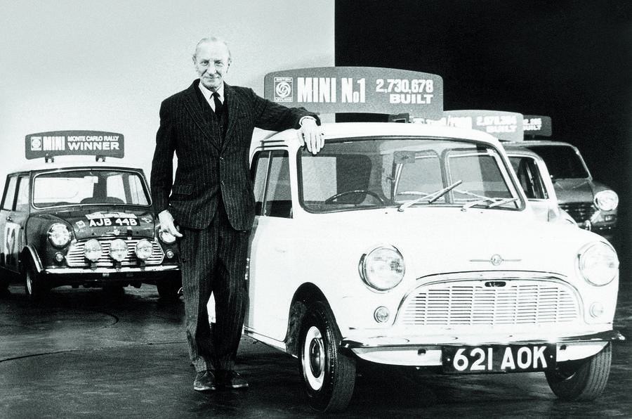 Alec Issigonis with a Mini