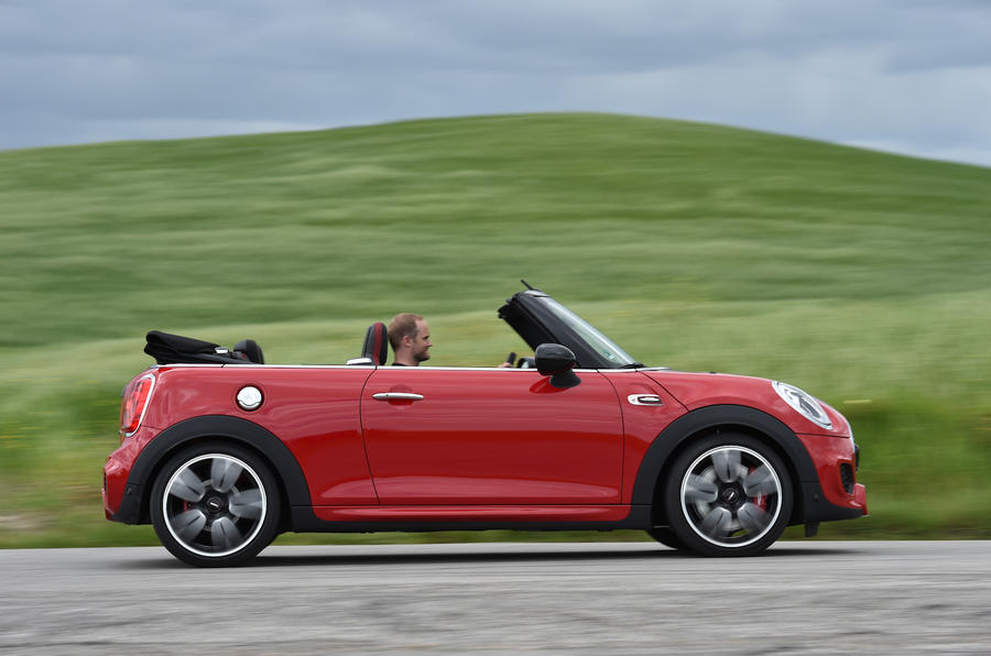 Mini JCW Convertible roof down