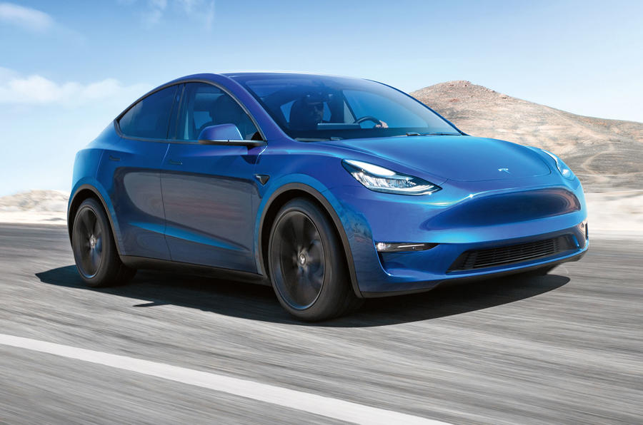 Tesla Model Y in blue - front