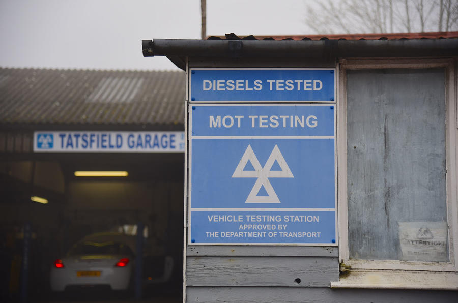 MOT sign at garage