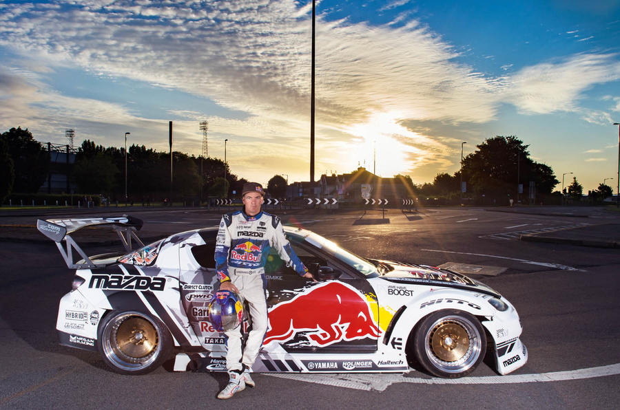 Drifting around a five-roundabouts-in-one junction with drift ace Mike Whiddett