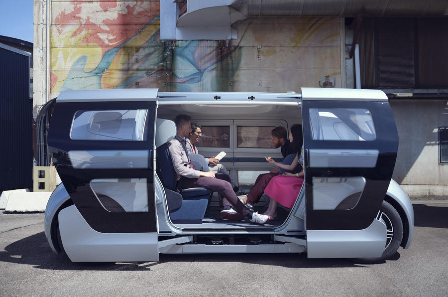 NEVS Sango self-driving shuttle - side
