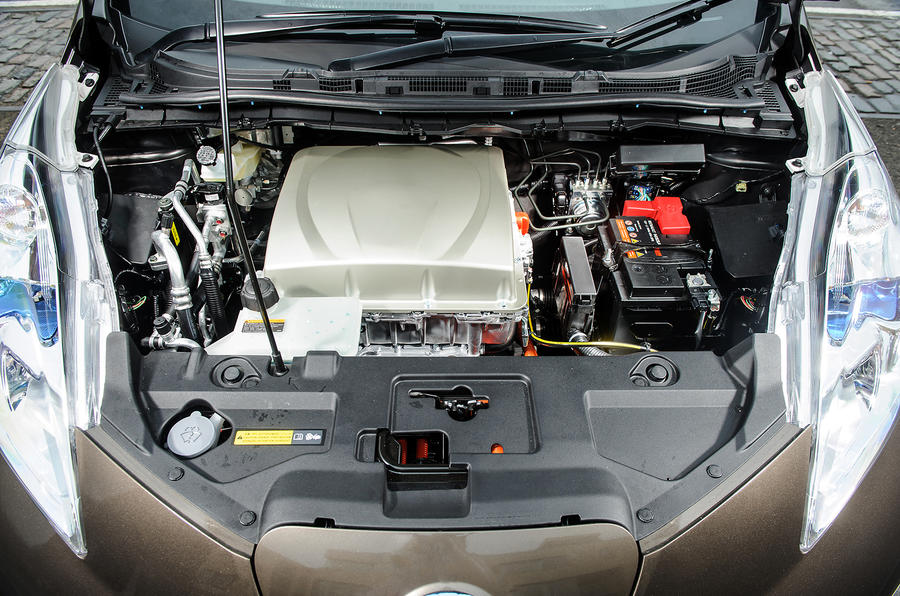 The Nissan Leaf engine bay