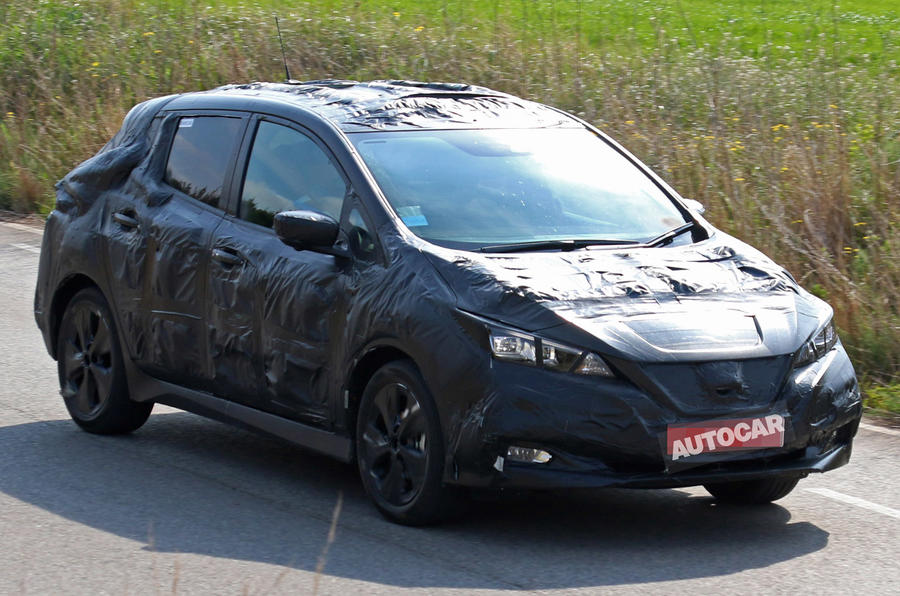 2018 nissan leaf spotted for the first time autocar. Black Bedroom Furniture Sets. Home Design Ideas