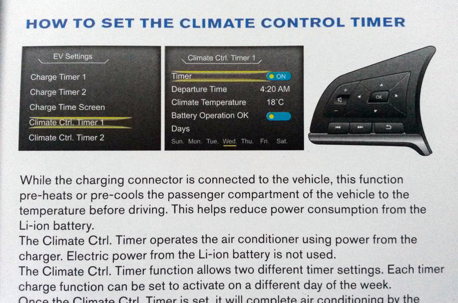 Nissan Leaf long-term review - climate control timer instructions