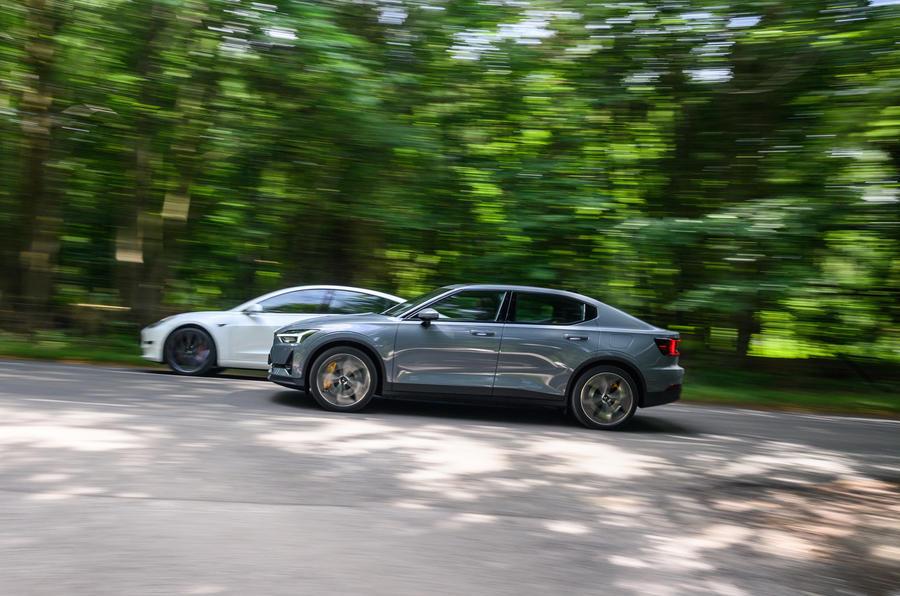2020 Polestar 2 vs Tesla Model 3 - side