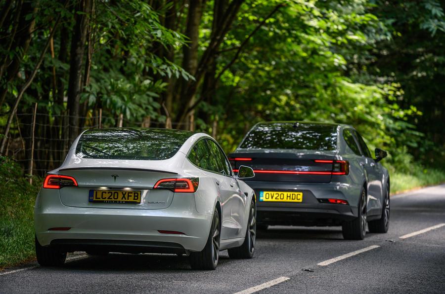 2020 Polestar 2 vs Tesla Model 3 - rear