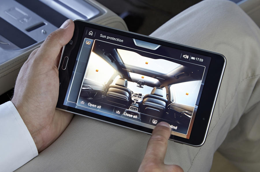 BMW 740Li tablet infotainment