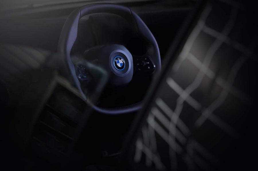 BMW iNext polygonal-shaped steering wheel