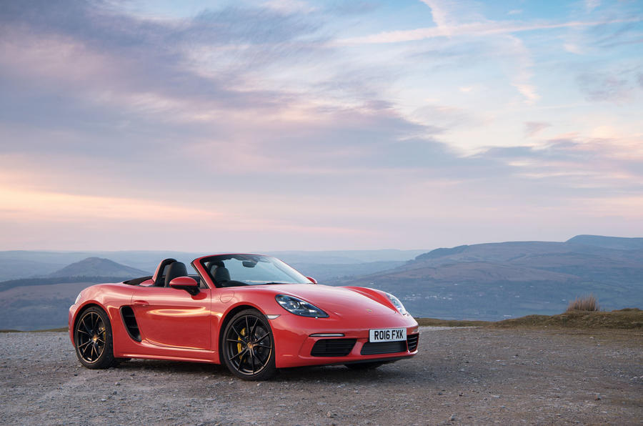 2018 Porsche Boxster roof down sunset