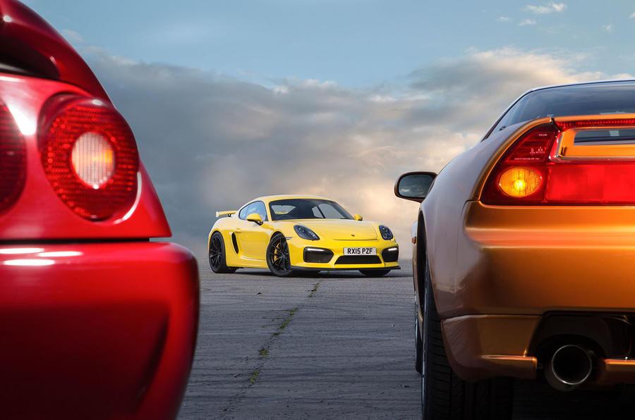 Ferrari F355, Honda NSX and Porsche Cayman GT4