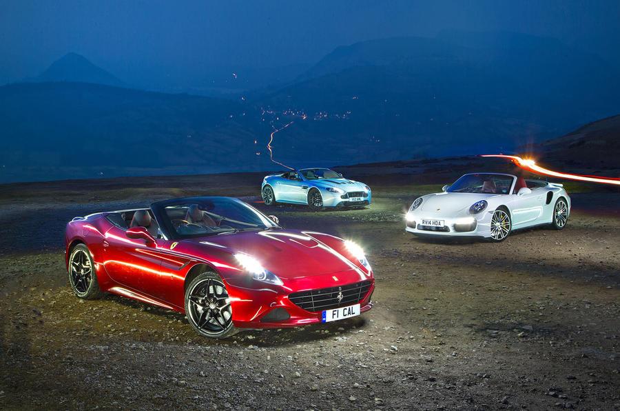 Ferrari California T, Porsche 911 Cabriolet, Aston Martin V12 Vantage S Roadster