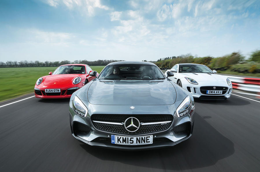 Mercedes-AMG GT S, Porsche 911 GTS and Jaguar F-Type R