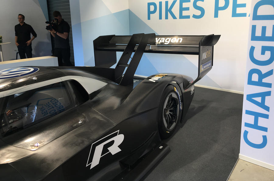 VW unveils new all-electric racing vehicle to climb Pikes Peak this summer