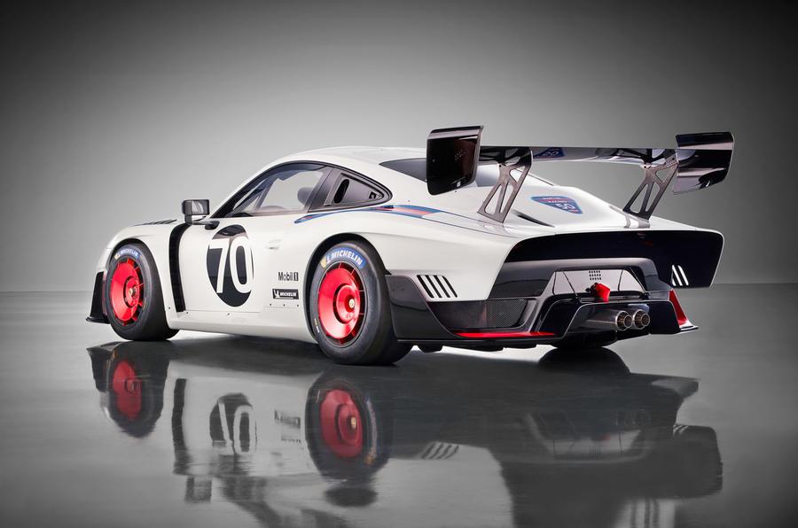 Porsche 935 race car 2018 reveal hero rear