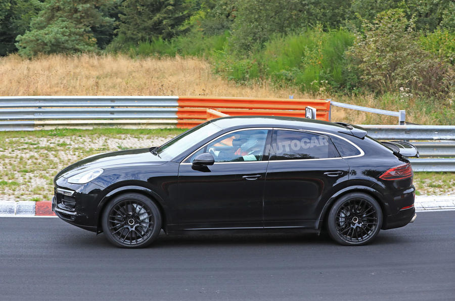 Porsche Cayenne Coupe 2019 spies Nurburgring active rear spoiler 6