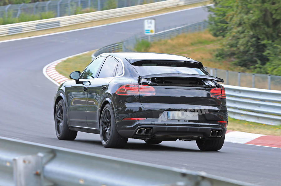 Porsche Cayenne Coupe 2019 spies Nurburgring active rear spoiler 5
